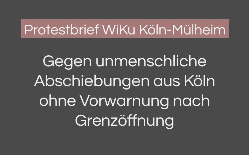 Protestbrief WiKu Köln-Mülheim