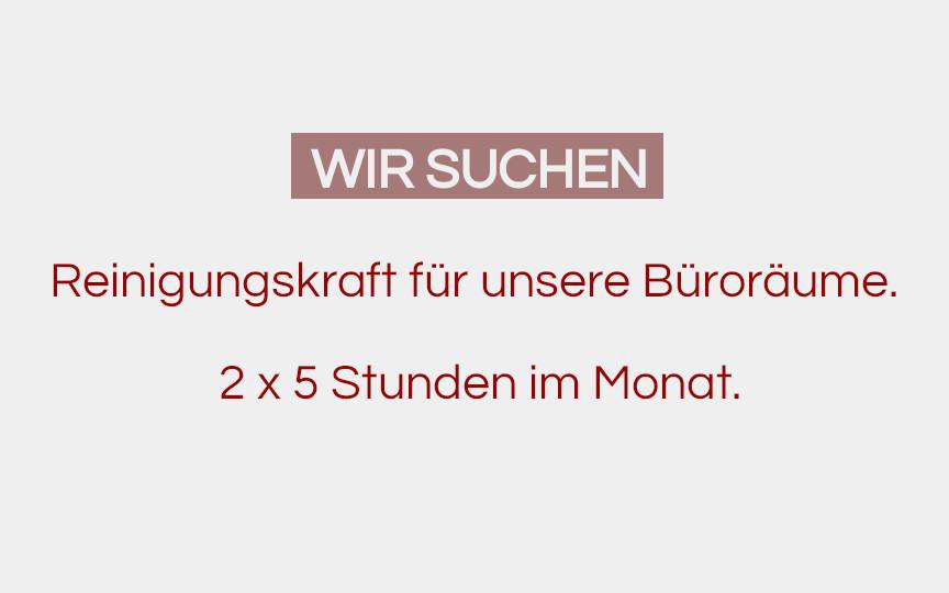 Stellenausschreibung: Reinigungskraft auf 450 Euro Basis