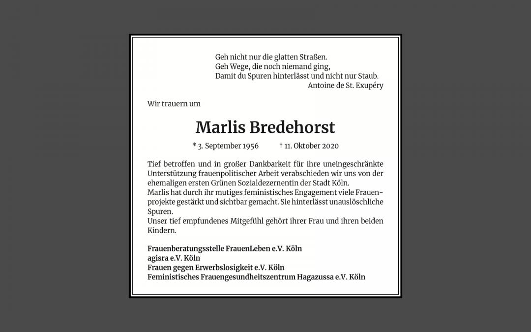 Wir trauern um Marlis Bredehorst