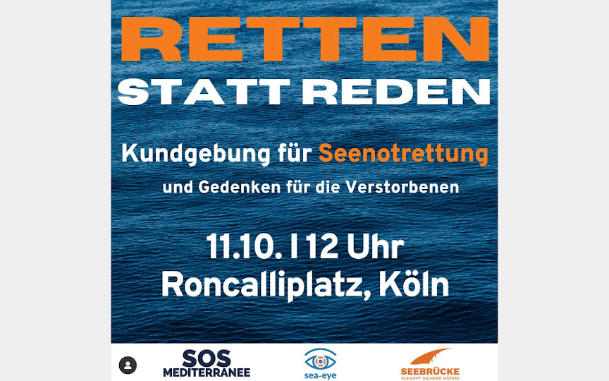 Retten statt Reden: Kundgebung für Seenotrettung und Gedenken für die Verstorbenen