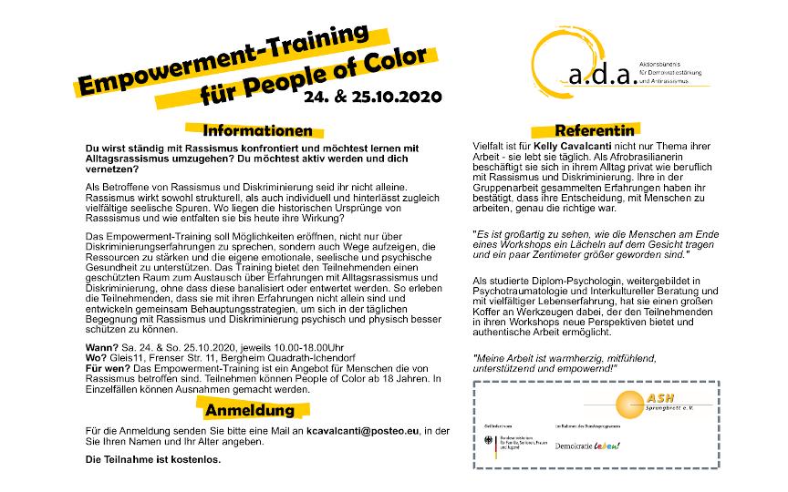 Externe Veranstaltung: Empowerment-Training für People of Color